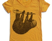 Womens TREE SLOTH T-Shirt american apparel S M L XL (16 Colors Available)