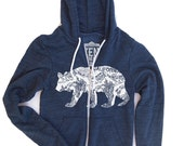 Unisex  California Bear Tri-Blend Hoody - American Apparel XS S M L XL