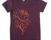 Womens Custom LOTUS FLOWER american apparel S M L XL (17 Colors Available)
