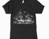 Unisex Vintage STEAMSHIP Tri Blend V Neck T Shirt american apparel XS  S  M  L (3 Color Options)