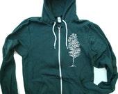 Unisex PINE Tree Flex Fleece Hoody in Forest - American apparel all sizes XS S M L XL
