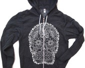 Unisex Day of the DEAD 2 Fleece Zip Hoody  - American apparel all sizes XS S M L XL (4 Color Options)