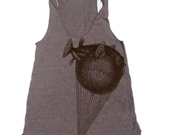 Women's BALLOON Fish -hand screen printed Tri-Blend Racerback Tank Top xs s m l xl xxl  (+Colors) Zen Threads