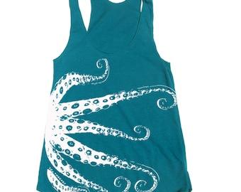 Womens OCTOPUS american apparel Tri-Blend Racerback Tank Top S M L (10 Color Options)