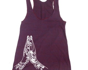 Women's NAMASTE -hand screen printed Tri-Blend Racerback Tank Top xs s m l xl xxl  (+Colors)