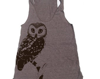 Women's OWL Tri-Blend Racerback -hand screen printed Tank Top xs s m l xl xxl  (+Colors)