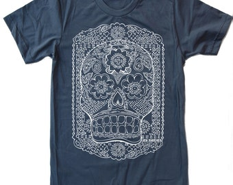 Mens DAY Of The DEAD american apparel T-shirt S M L XL (17 Colors Available)