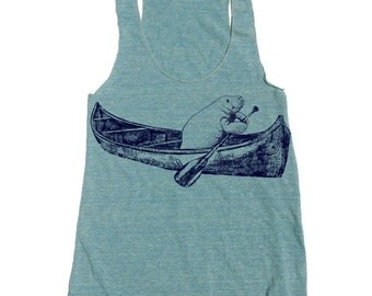 Womens MANATEE (in a Canoe) american apparel Tri-Blend Racerback Tank Top S M L - (10 Color Options)