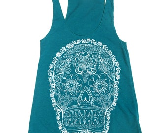 Women's DAY Of The DEAD 2 -hand screen printed Tri-Blend Racerback Tank Top xs s m l xl xxl  (+Colors)