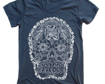 Womens DAY Of The DEAD 2 T-Shirt american apparel S M L XL (17 Colors Available)