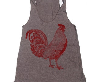 Women's ROOSTER -hand screen printed Tri-Blend Racerback Tank Top xs s m l xl xxl  (+Colors)