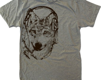 Men's WOLF (in Headphones) t shirt s m l xl xxl (+ Color Options) Zen Threads