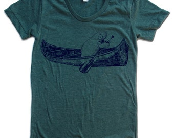 Womens MANATEE (in a Canoe) T Shirt american apparel S M L XL (16 Colors Available)