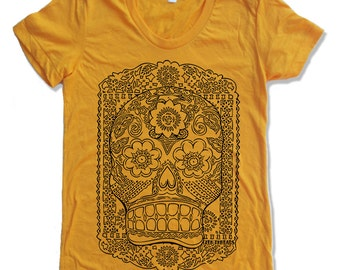 Womens DAY Of The DEAD T-Shirt american apparel S M L XL (17 Colors Available)