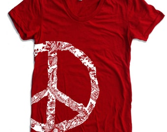 Womens Vintage PEACE t shirt american apparel S M L XL (16 Color Options)