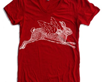 Womens Winged RABBIT T-Shirt american apparel S M L XL (16 Colors Available)