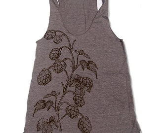 Women's HOPS -hand screen printed Tri-Blend Racerback Tank Top xs s m l xl xxl  (+Colors)
