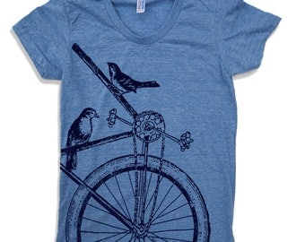 Womens SPARROW BIKE T Shirt American Apparel S M L XL (14 Colors)