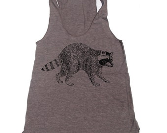 Women's Urban RACCOON -hand screen printed Tri-Blend Racerback Tank Top xs s m l xl xxl  (+Colors)