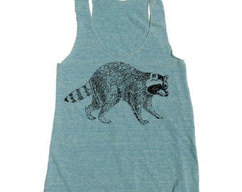 Womens Urban RACCOON american apparel Tri-Blend Racerback Tank Top S M L (10 Color Options)