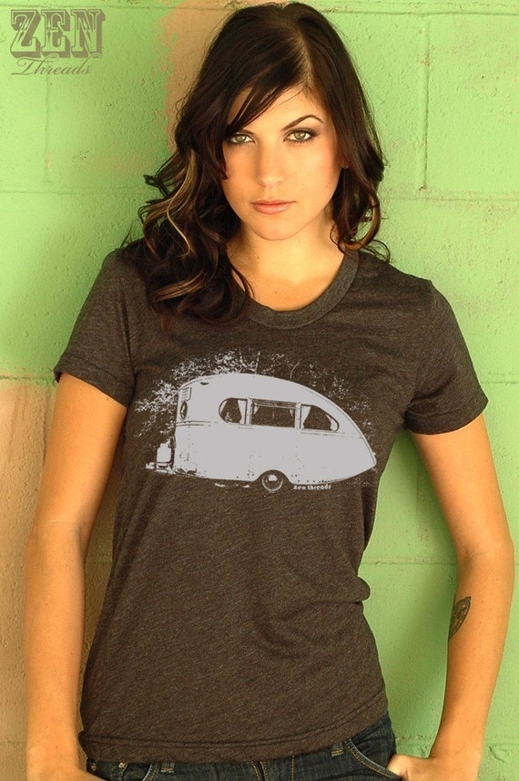 Women's VINTAGE CAMPER  t shirt american apparelS M L XL (15 Colors Available)