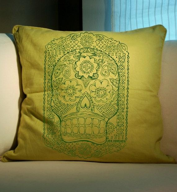 Light Green Decorative Pillow : SUGAR SKULL Light Green and green Decorative Eco Throw Pillow