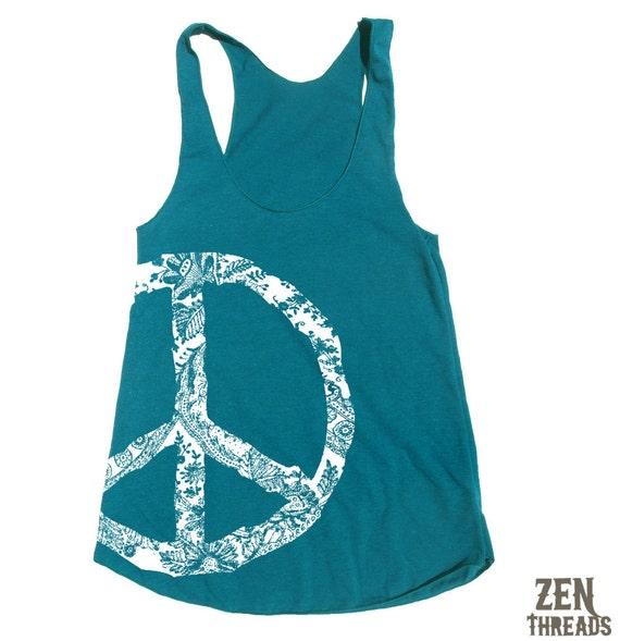 Womens Lace PEACE Sign american apparel Tri-Blend Racerback Tank Top S M L (9 Color Options)