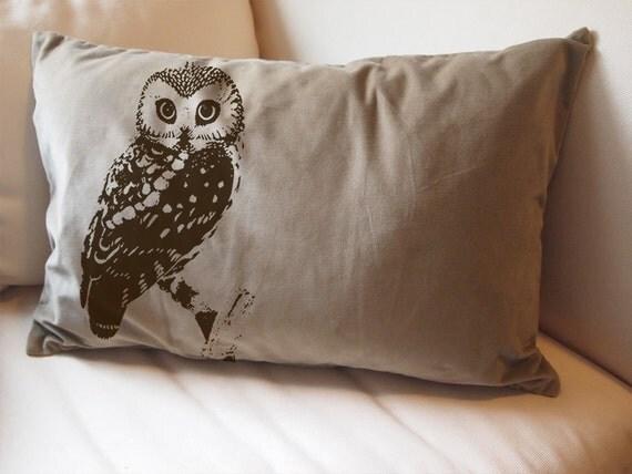Throw Pillows With Owls : Items similar to Urban OWL Large Eco Throw Pillow Sham Cover - 16x24 Tan Cotton Velvet on Etsy