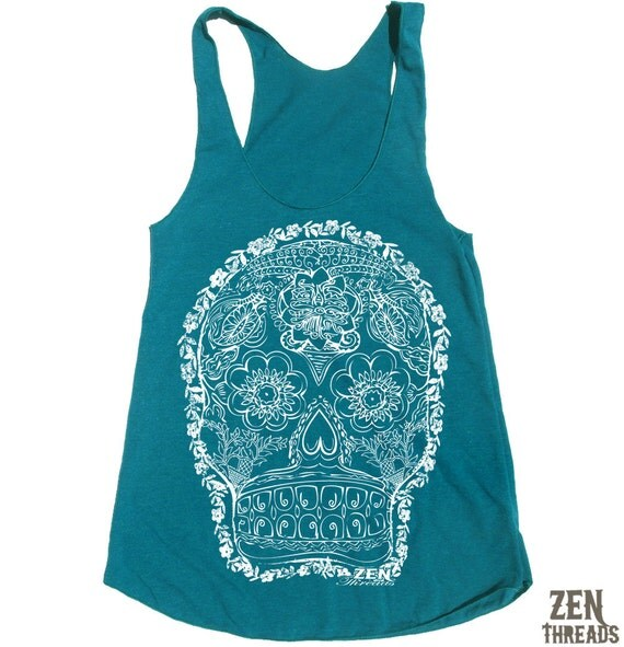 Womens DAY Of The DEAD 2 american apparel Tri-Blend Racerback Tank Top S M L (9 Color Options)