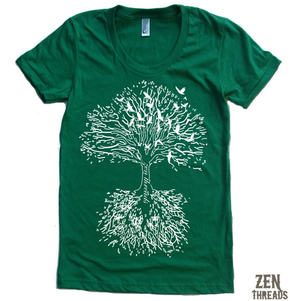 Women 39 s roots tree t shirt american apparel s m l by for American apparel t shirt design