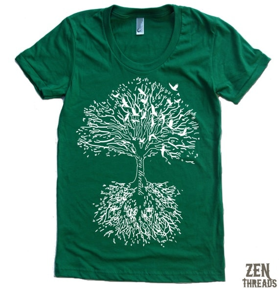 Women's ROOTS TREE T Shirt american apparel  S M L XL (15 Colors Available)