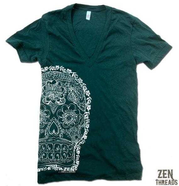 Unisex DAY Of The DEAD 2 Deep V Neck t shirt american apparel  XS S M L  (11 Color Options)