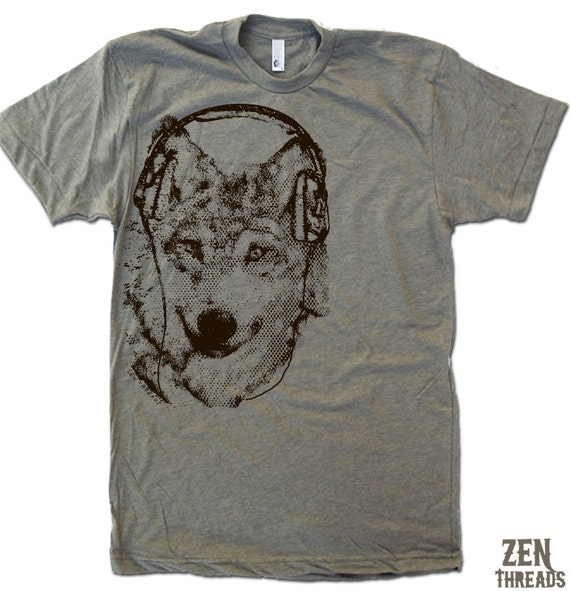Men's WOLF (in Headphones) t shirt american apparel S M L XL (17 Color Options)