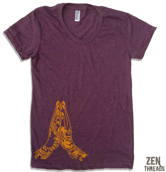 Women's NAMASTE Hands t shirt american apparel S M L XL (17 Colors Available)