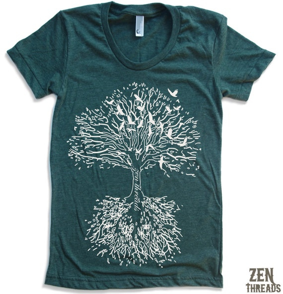 Womens ROOTS Tree t-shirt american apparel S M L XL (15 Colors Available)