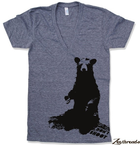 Unisex BEAR (Don't Shoot)  Deep V-Neck american apparel  XS S M L XL (10 Colors Available)