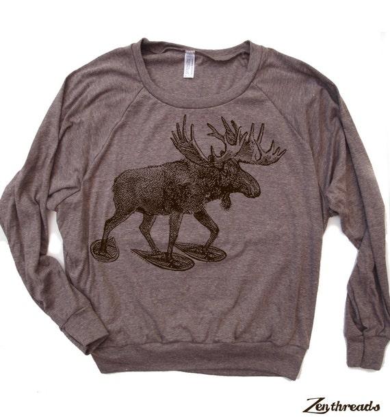 Womens MOOSE (In Snow Shoes) Tri-Blend Pullover - american apparel S M L (+ Color Options)