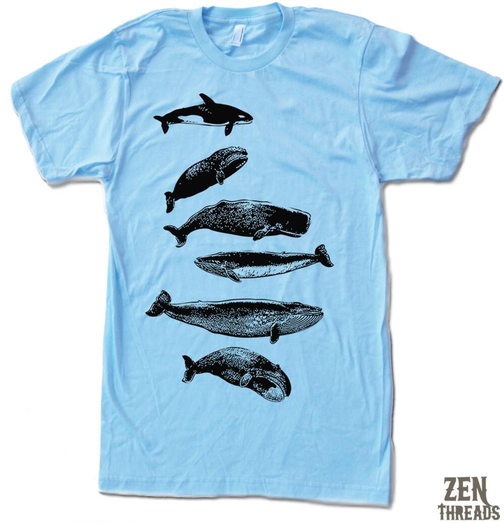 Men 39 s whales t shirt s m l xl xxl color options by zenthreads for Whale emblem on shirt