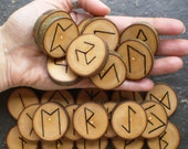 Traditional, Large, Natural - English Ash - Wood Rune and Pendant Set with Matching FREE Solar Wheel Talisman.