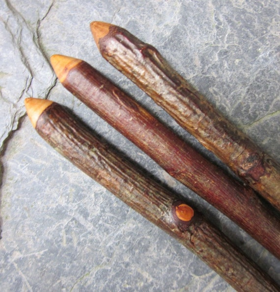 Set of 3 Natural Wood Wands - Oak, Blackthorn, Rowan - for Complete Protection.