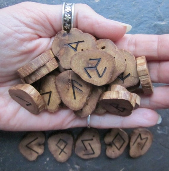 Small/Medium, Natural - Gorse - Wood Rune Set with FREE Matching Solar Talisman.