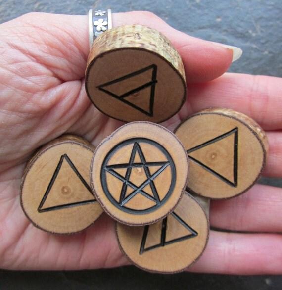 Natural Wood Element Symbols - Hazel - Portable Altar.
