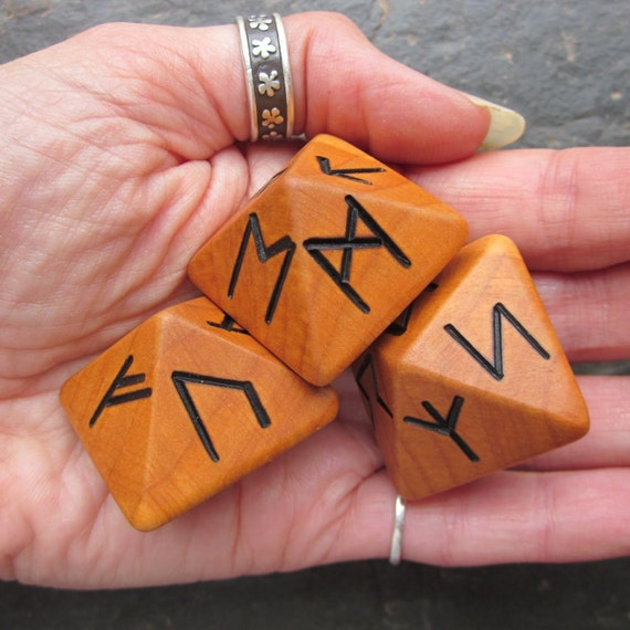 Unique and Exclusive - Rune Dice - made from Alder wood. Set 52.
