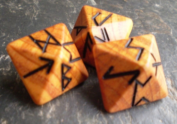 Unique and Exclusive Pocket Sized - Rune Dice - in Aromatic Cypress Wood - Set 23.