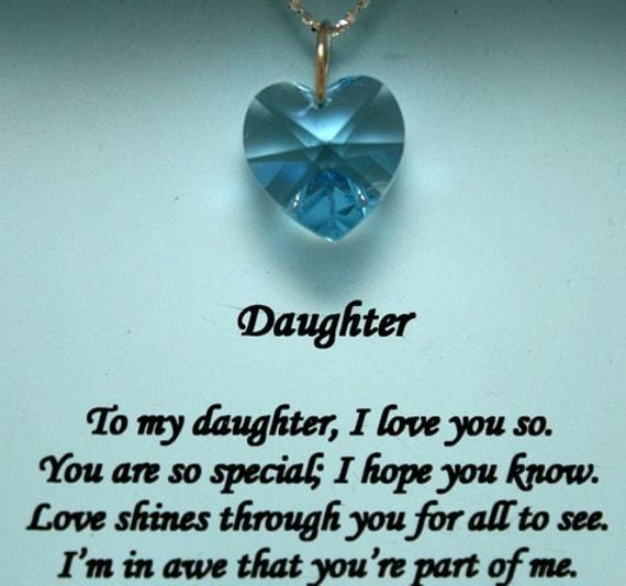 I Love You Mom Quotes From Daughter Tumblr : special message To my Daughter Aqua Swarovski Crystal Pendant, Also ...