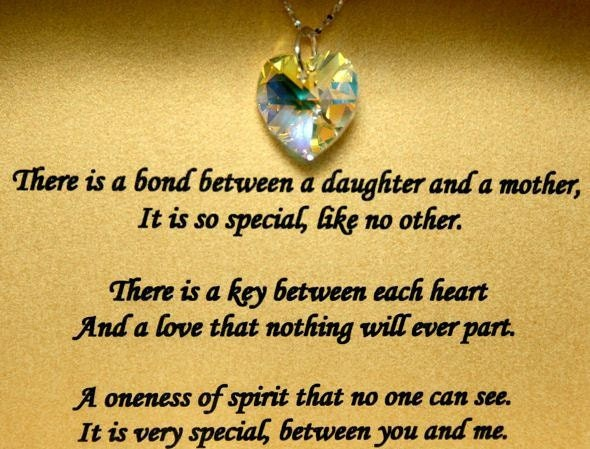 poem for mother daughter bond on card with 18mm crystal heart