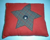 Rust and Plaid Star pillow