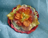 Layered Flower Brooch Yellows Oranges