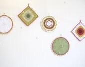 crochet pot holder... Eliza - retro orange, green and white ...Ready to ship