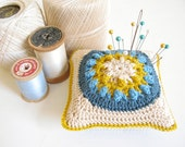 crochet pincushion... Sylvia - beige, mustard, teal and electric blue
